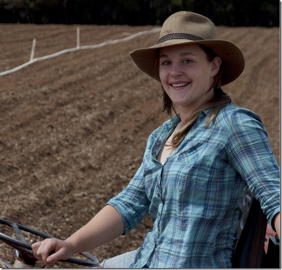 Jo on tractor