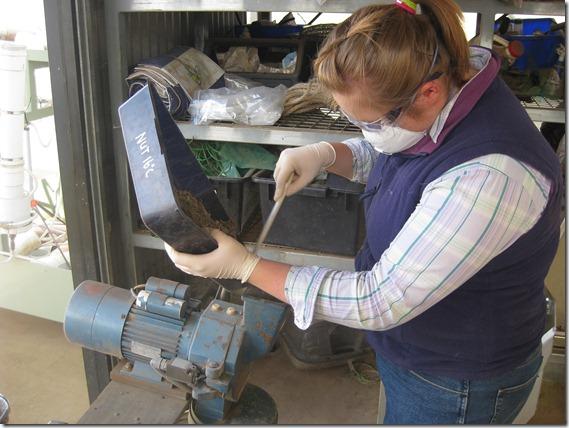 Grinding soil samples