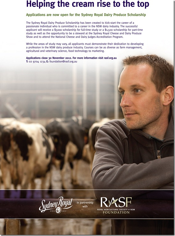 Sydney Royal Dairy Produce Scholarship Poster 2012 (2)