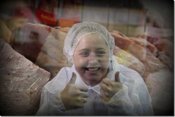 Steph Fowler in the Carcass Fridge at the Ekka