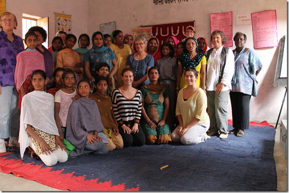 With local women in India