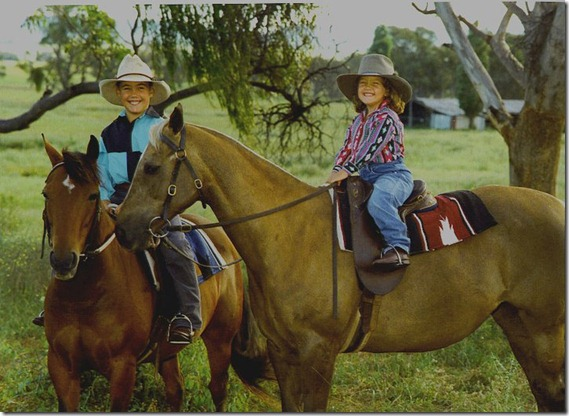 Family Photo of me and my brother i was 3 years old on my first horse