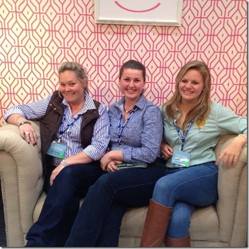 Catching up with friends Dee George and Laura Bennett at the Wincott stand, Cotton Conference 2014.