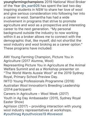 Sam Wan YFC caption from Instagram