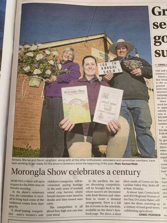 Marlee newspaper story Morongla show.jpg